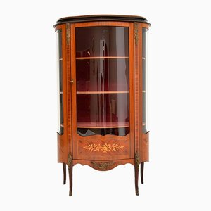 French Inlaid Marquetry Display Cabinet, 1930s