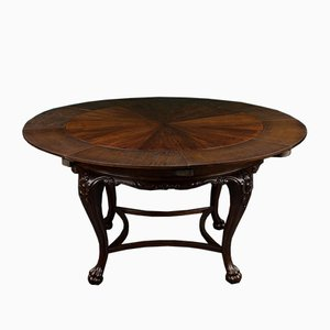 German Walnut Veneer Extendable Round Dining Table by Josef Seiler for Liegnitzer, 1920s