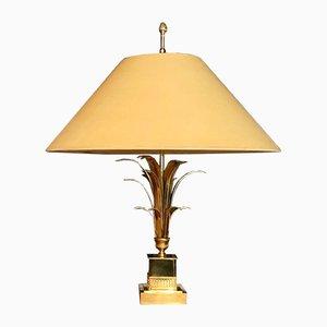 Französische Vergoldete und Messing Ananasblätter Tischlampe aus Metall von Boulanger, 1960er