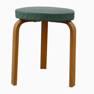 Sgabello modello 60 vintage minimalista in ecopelle verde di Alvar Aalto per Artek