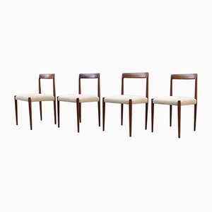 Vintage Minimalist Walnut Dining Chairs in Beige Suede from Lübke, 1960s, Set of 4