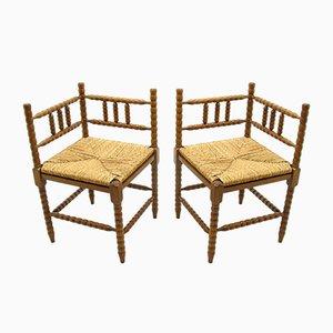 Vintage Turned Oak Corner Side Chairs, 1970s, Set of 2