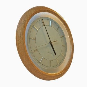 Vintage Japanese Oak Wall Clock with floating Dial, 1980s