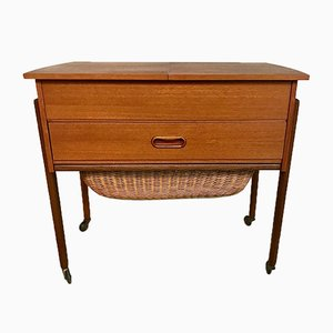 Danish Modern Teak and Wicker Sewing Table or Storage Trolley, 1960s
