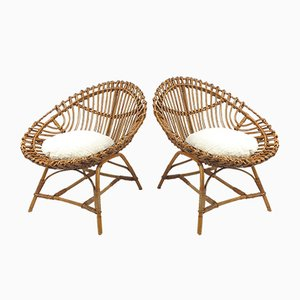 Rattan Lounge Chairs, 1960s, Set of 2