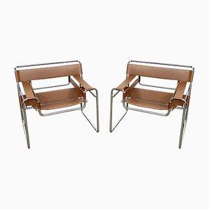 Chaises B3 Wassily en Cuir Cognac par Marcel Breuer pour Knoll Inc. / Knoll International, 1980s, Set de 2