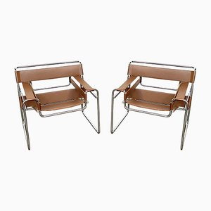 Cognac Leather B3 Wassily Chairs by Marcel Breuer for Knoll Inc. / Knoll International, 1980s, Set of 2