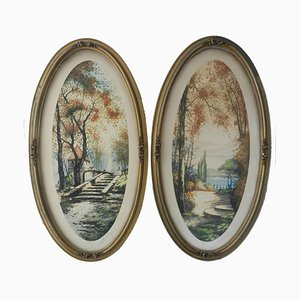 French Chateau Landscape Lithographs, 1920s, Set of 2