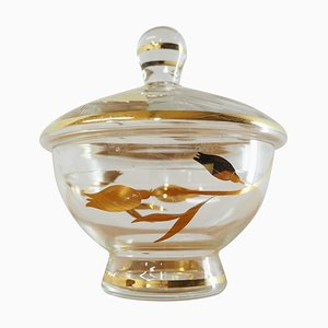 Mid-Century Glass Sugar Bowl from Bohemia Crystal, Czechoslovakia, 1950s
