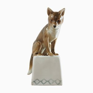 Mid-Century Porcelain Sculpture of Fox, 1960s