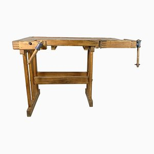 Vintage Oak Workbench, Czechoslovakia, 1950s