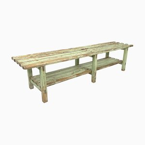 Vintage Industrial Wooden Bench with Original Paint, 1930s