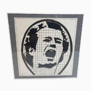 Art Ink Drawing Tennis Player John McEnroe par D.v Dort, 1984