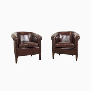 Vintage Dark Brown Sheep Leather Club Chairs, Set of 2