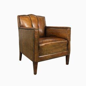 Vintage Art Deco Schafsleder Sessel