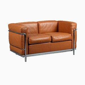 Cognac Brown Leather LC2 2-Seat Sofa by Le Corbusier for Cassina, 2000s