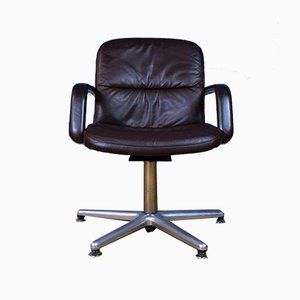 Mid-Century Danish Brown Leather & Metal Swivel Office Desk Chair