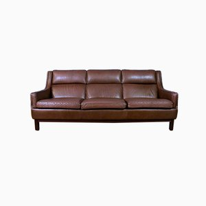 Mid-Century Danish Brown Leather 3-Seat Sofa in the Style of Borge Mogensen, 1970s