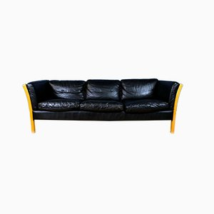 Mid-Century Danish Black Leather & Beech Slatted 3-Seat Sofa from Stouby, 1970s