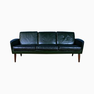 Mid-Century Danish Dark Green Leather 3-Seat Sofa Settee, 1960s