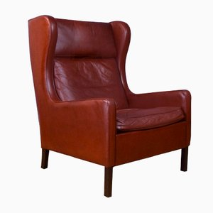 Mid-Century Danish Tan Brown Leather Armchair in the Style of Borge Mogensen, 1970s