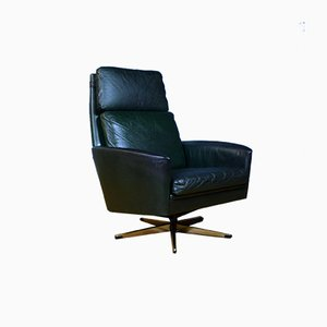 Mid-Century Danish Dark Green Leather High Back Swivel Chair, 1960s