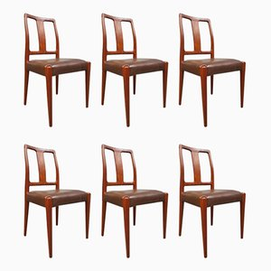 Mid-Century Danish Teak and Leather Dining Chairs from Scan, Set of 6