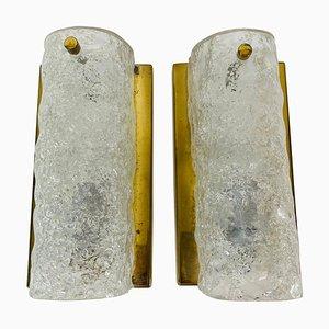 Deutsche Wandlampen aus Messing & Eisglas von Hillebrand, 1960er, 2er Set
