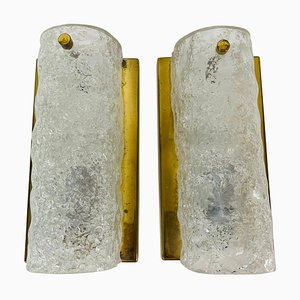 German Brass and Ice Glass Wall Lamps from Hillebrand, 1960s, Set of 2