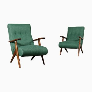 Italian Stained Beechwood, Foam & Fabric Armchairs, 1950s, Set of 2