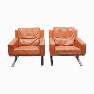 Mid-Century Modern Cognac Leather Club Chairs, 1960s, Set of 2