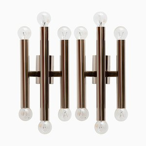 Italienische Chrom Röhren Wandlampen von Gaetano Sciolari, 1970er, 2er Set