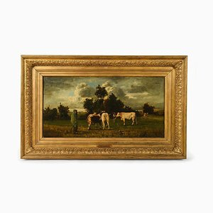 19th Century The Herdsman Oil on Canvas by Constant Troyon