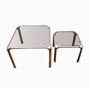 Tables en Chrome & Verre Teinté, 1970s, Set de 2