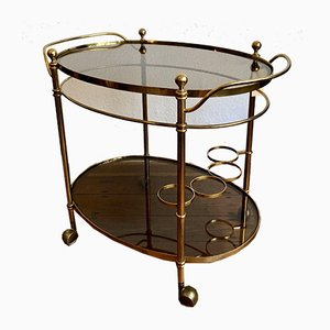 Neoclassical Style Gilded Bar Trolley with 2 Glass Trays, 1960s