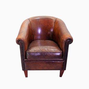Vintage Dutch Cognac-Colored Leather Club Chair, 1960s
