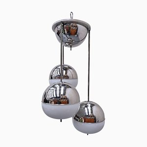 Chrome and Glass Suspension Lamp, 1970s