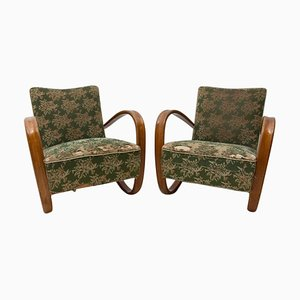 Czech Bentwood H-269 Lounge Chairs by Jindrich Halabala for Thonet, 1950s, Set of 2