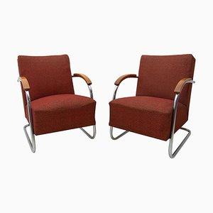 Bauhaus Tubular Steel Armchairs by Mücke & Melder for Kovona, 1950s, Set of 2