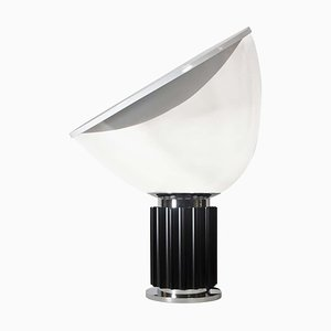Black and White, Chrome & Clear Glass Taccia Table Lamp by Achille Castiglioni for Flos, 1990s