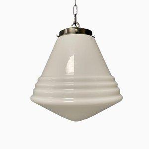 Grande Lampe à Suspension en Verre Opalin de Philips, 1930s