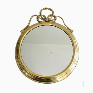 French Decorative Oval Brass Mirror with Large Noddles on Top, 1970s