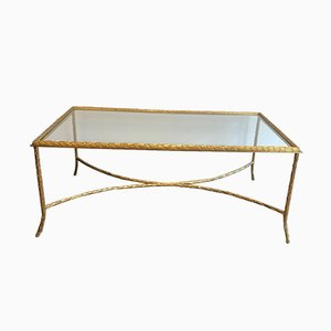 French Faux-Bamboo Bronze Coffee Table from Maison Bagués, 1940s