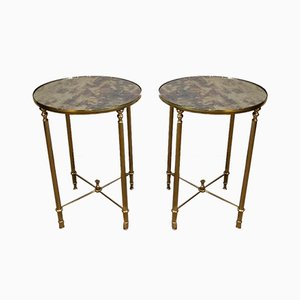 French Neoclassical Style Round Side Tables with Faux-Antiques Mirrors on Top in the Style of Maison Jansen, 1940s, Set of 2