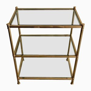 French Brass 3-Tier Console Table, 1970s