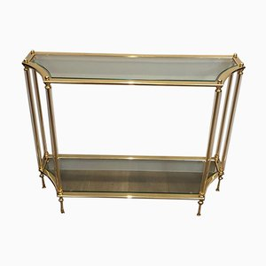 French Gilt Metal Console Table with Lucite Feet, 1970s