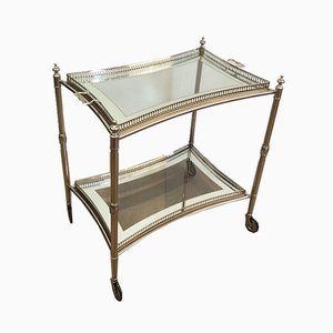 French Neoclassical Style Silver-Plated Drinks Trolley with Removable Trays, 1970s