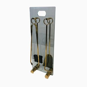 Brass and Glass Fireplace Tools Set, 1970s