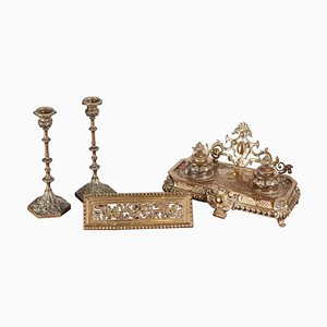 Antique French Cast-Brass Desk Set, Set of 3