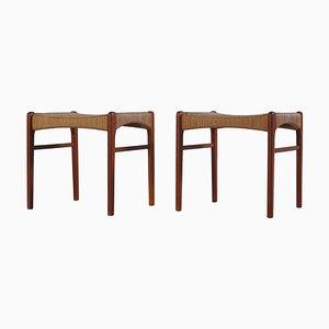 Danish Modern Teak Wooden Stools by Arne Wahl Iversen, 1960s, Set of 2